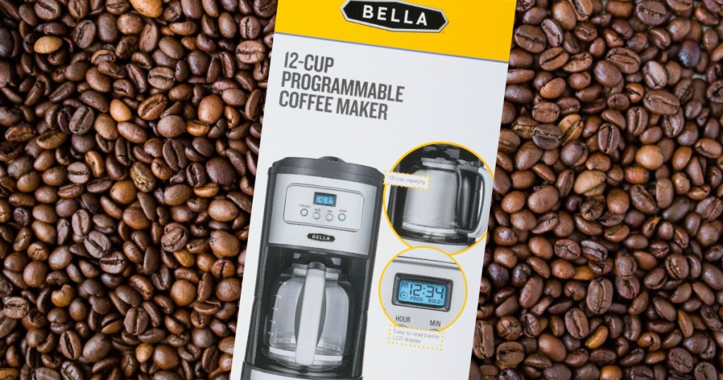 Bella Classics 12-Cup Coffee Maker with coffee bean background