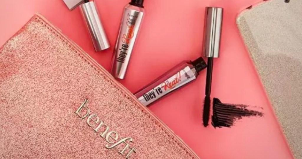 Benefit Cosmetics next to a make-up bag
