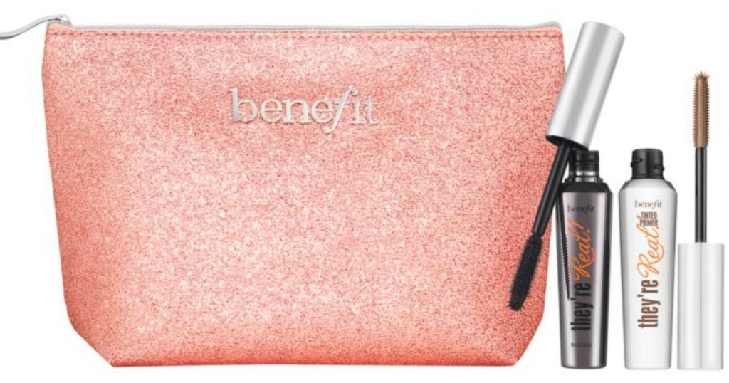 Benefit Cosmetics next to a pink sparkle bag
