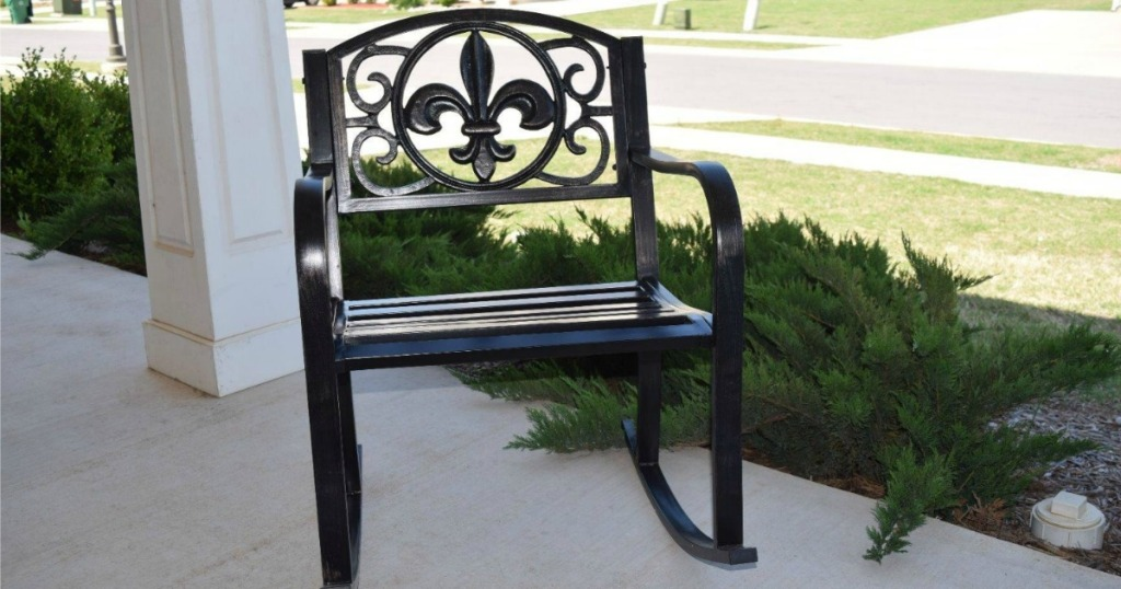 Best Choice Products Iron Rocker on porch