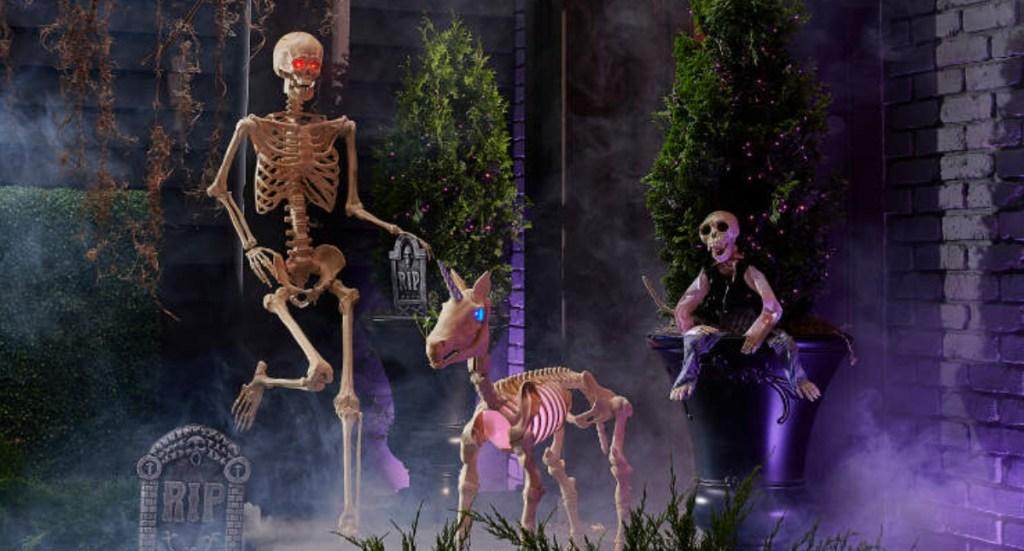 life-size skeleton with unicorn skeleton