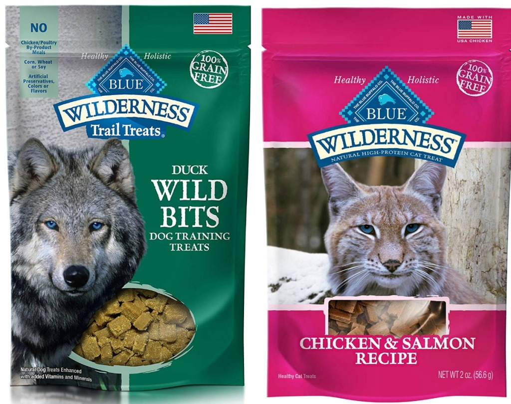 Two varieties of Blue Buffalo brand dog and cat treats in packages