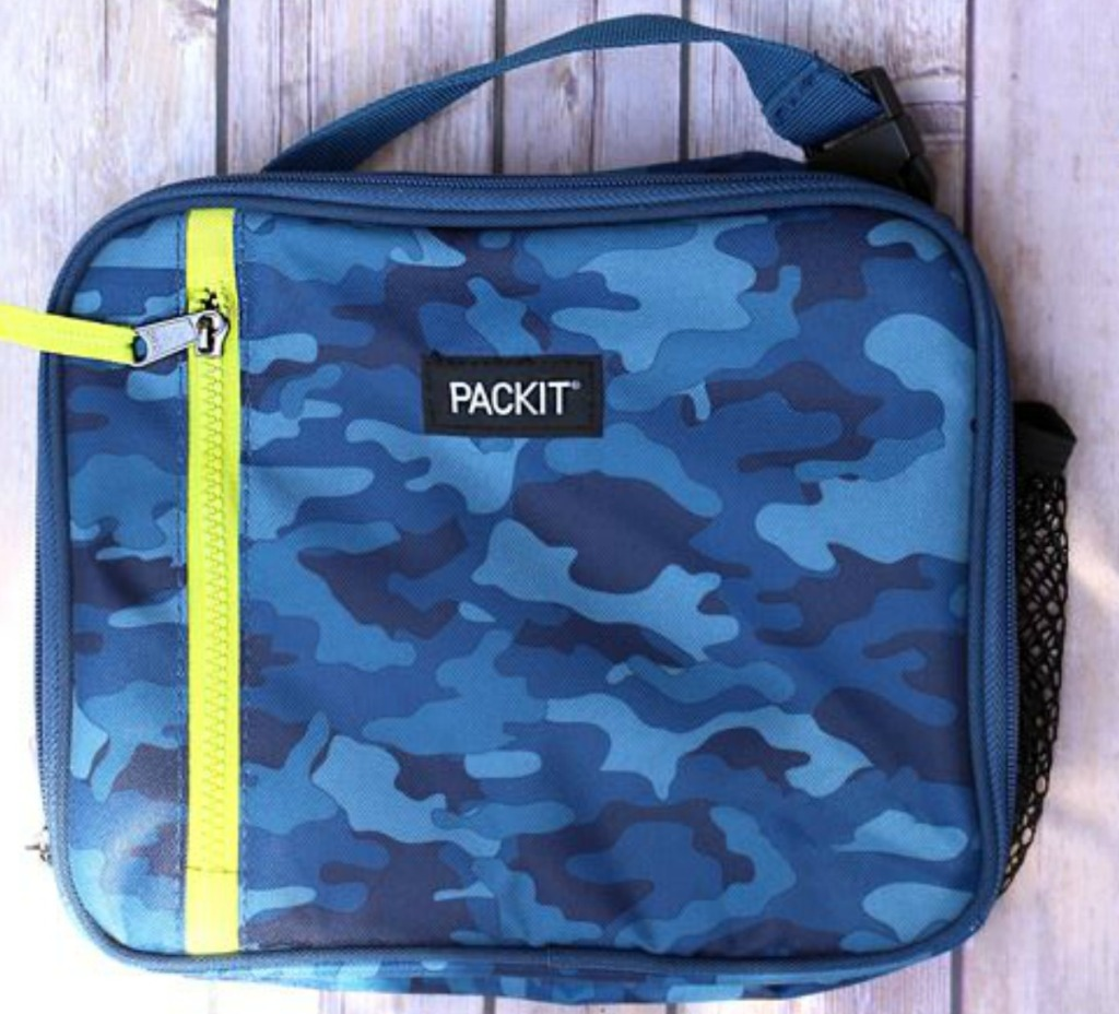 Blue Camo Packit Lunch Box on table