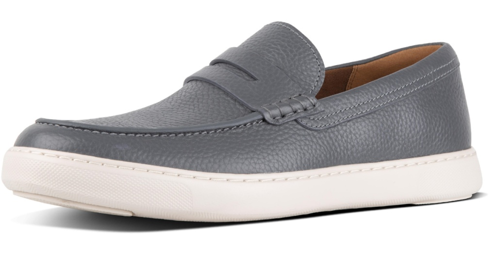 mens gray leather loafers