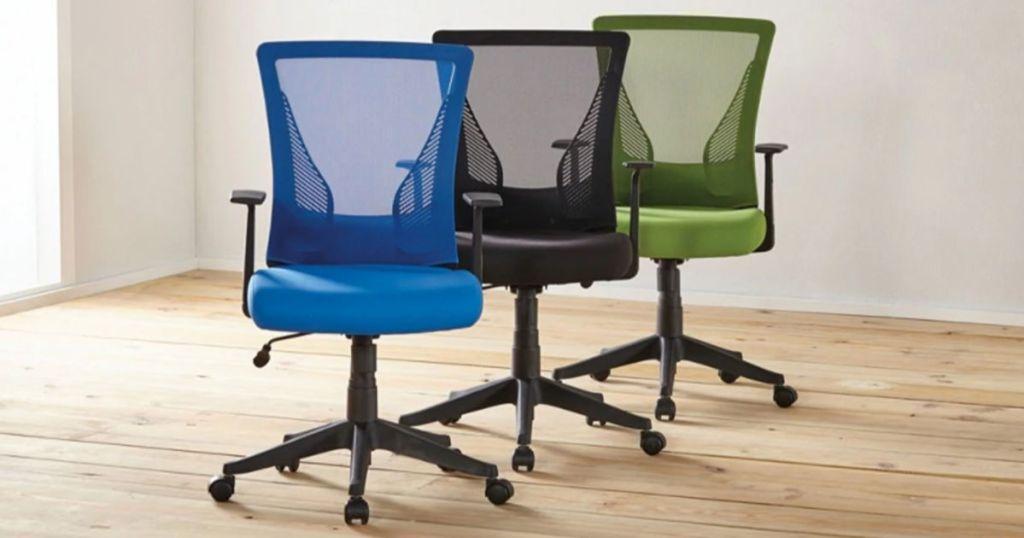 Brenton Studio Office Task Chair in blue, black, and green