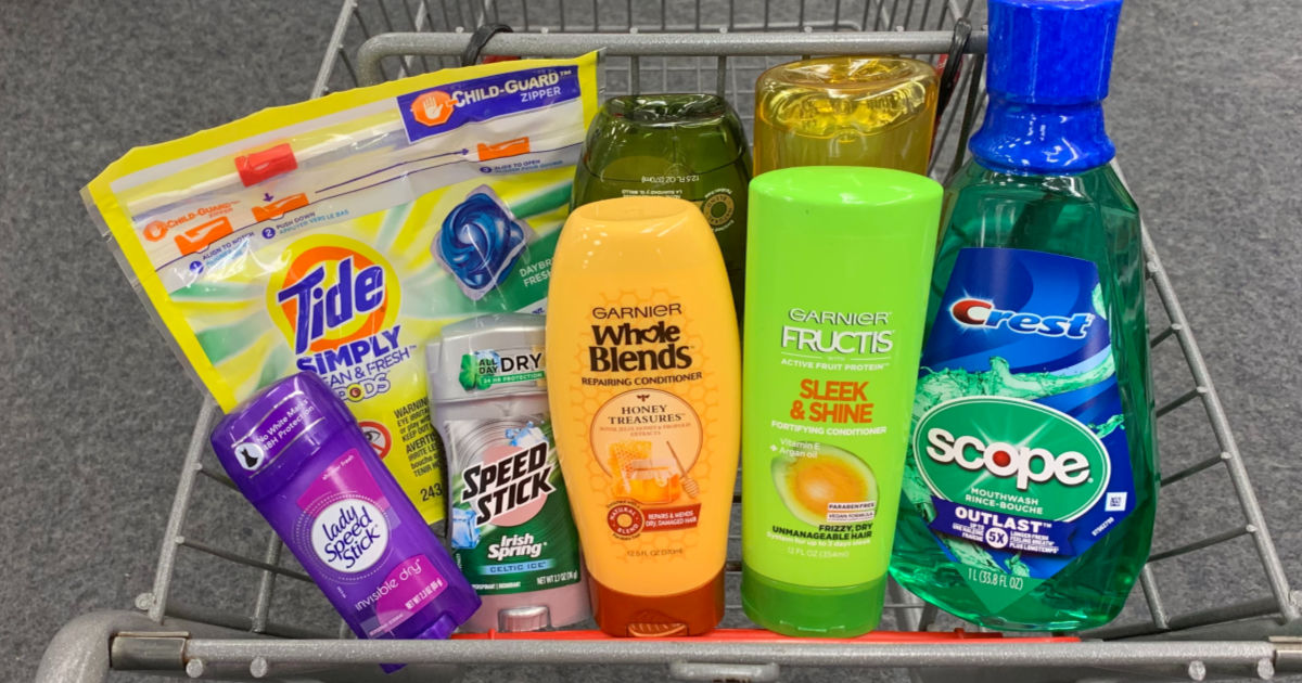 personal and household items in shopping cart