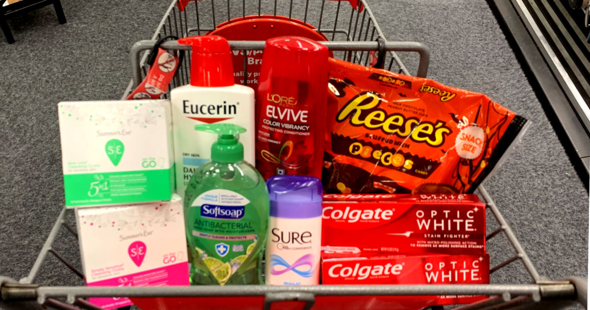 Products in a basket at CVS