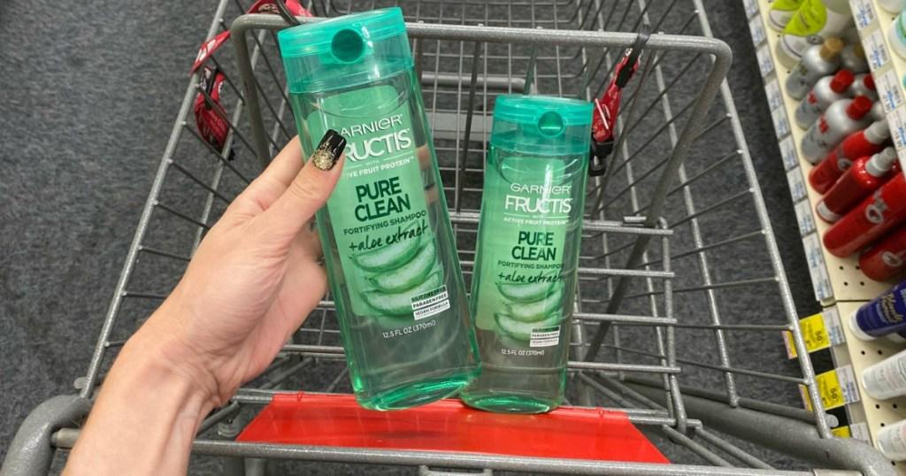 Garnier Fructis Shampoo & Conditioner in cart at CVS