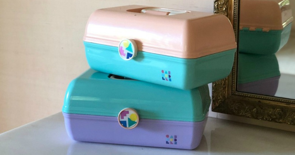 Caboodles sitting on a make-up vanity