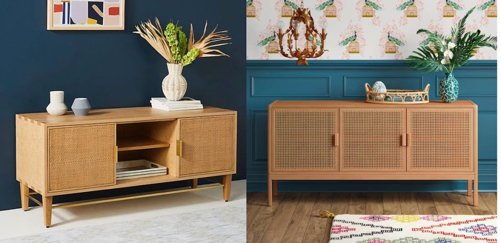 two caned vintage tv console tables