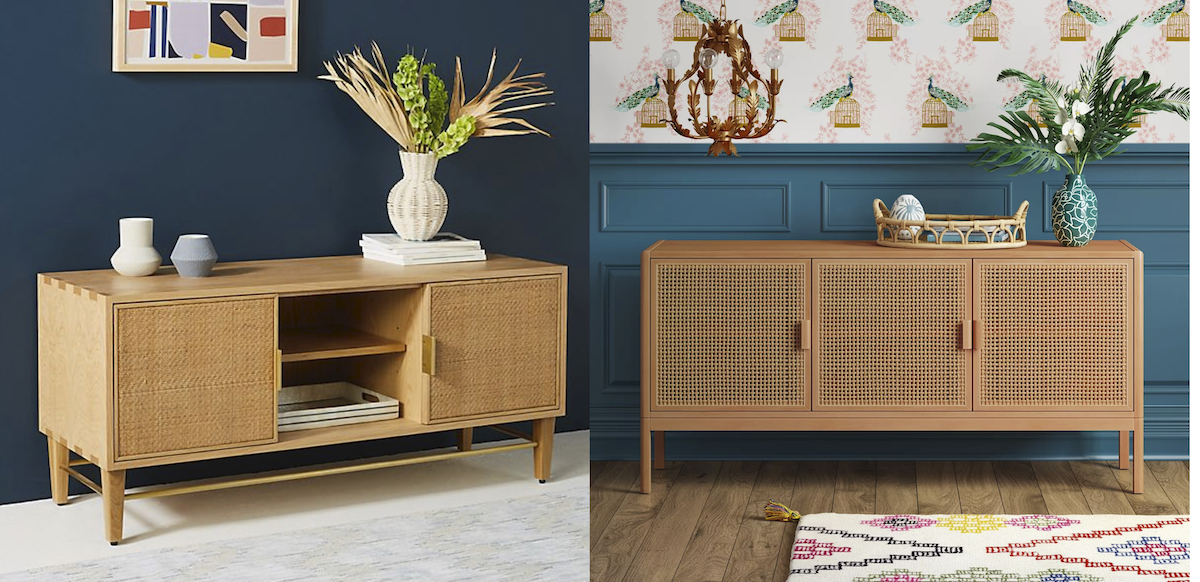 anthropologie dupe two caned vintage tv console tables
