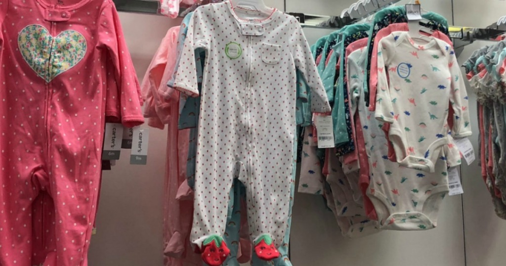 Carter's brand baby pajamas on display at Kohl's