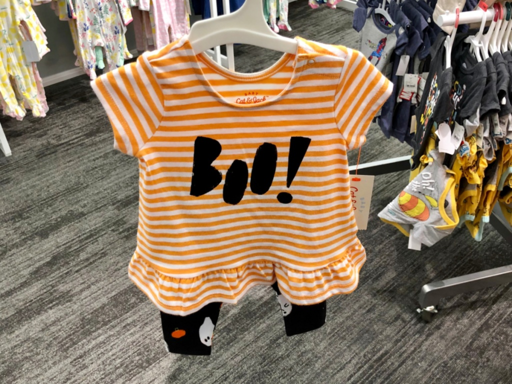 "Cat & Jack Baby Girls' Halloween ""Boo!"" Long Sleeve Top and Bottom Set"