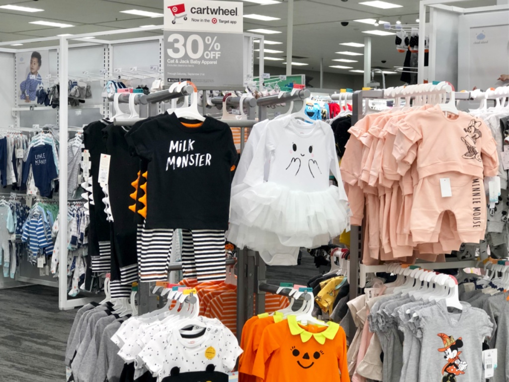 Cat & Jack Halloween Baby Apparel at Target with 30% off sign