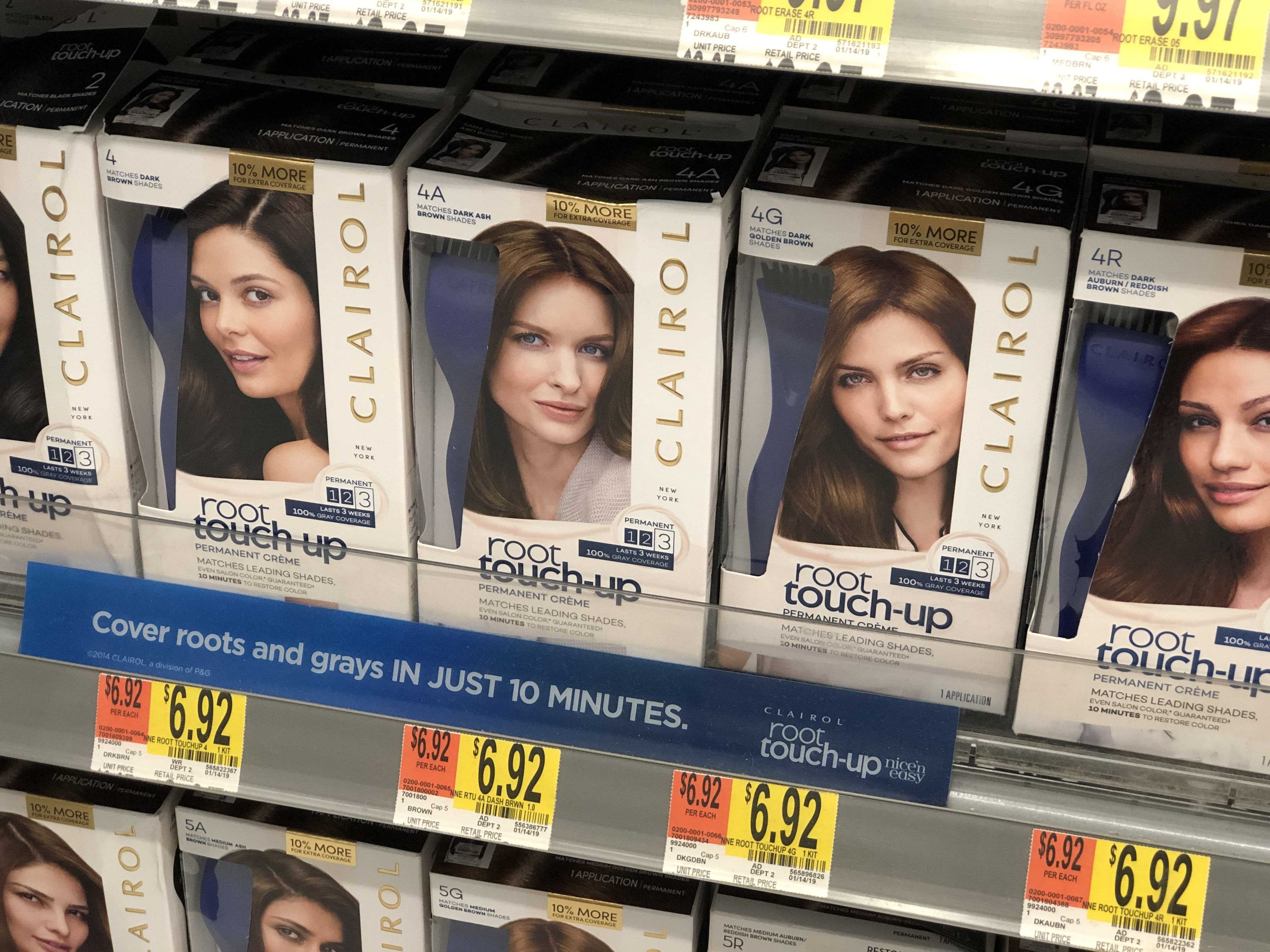 Clairol Root Touch-Up on the shelf at Walmart