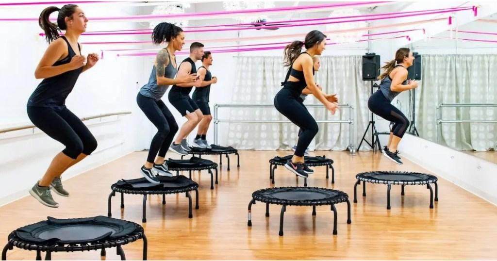 Women doing Trampoline Workout