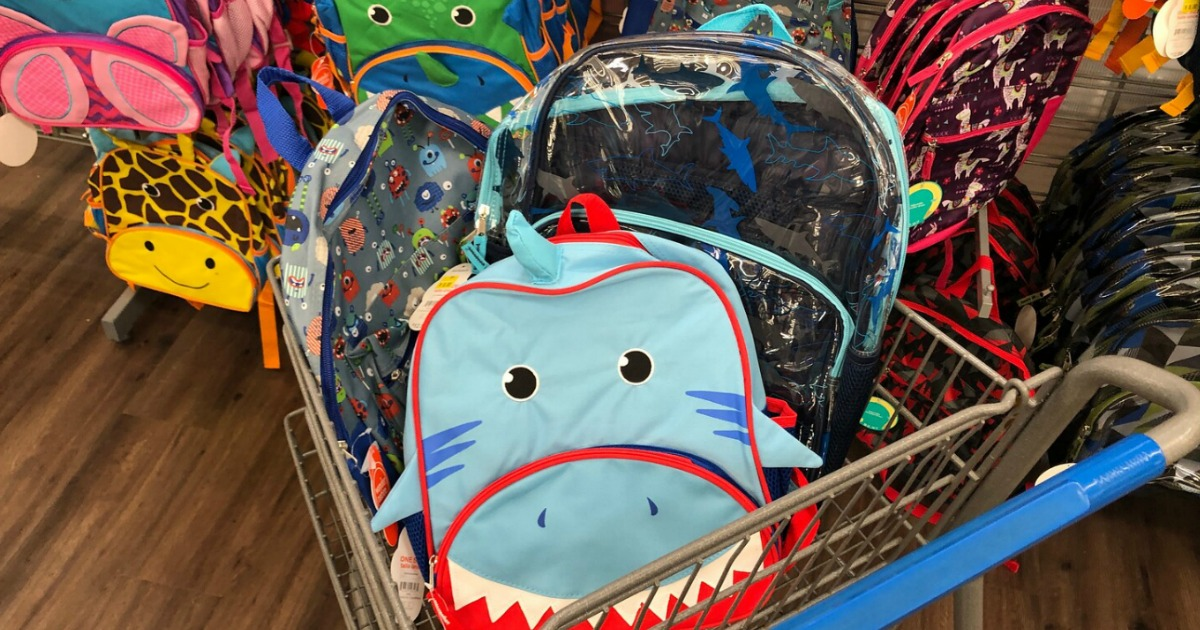 Clearance Backpacks in walmart cart