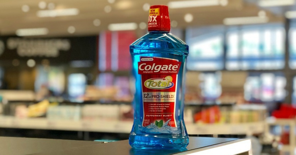 Colgate Total Mouthwash sitting on a shelf