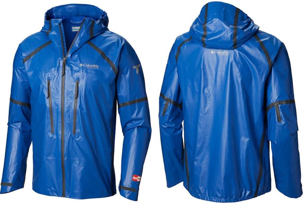 Columbia brand Men's outdoor rain jacket in Azul-blue color