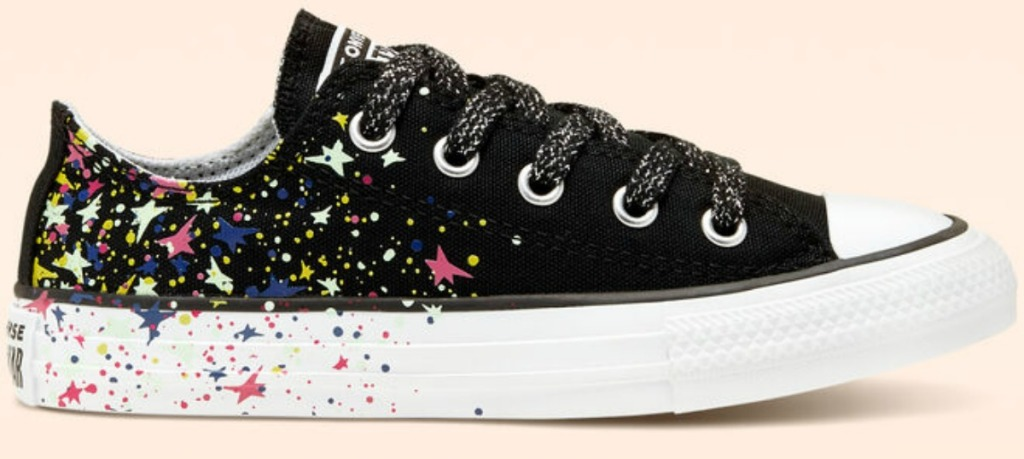 Converse brand kids shoes low-top style with colorful star print