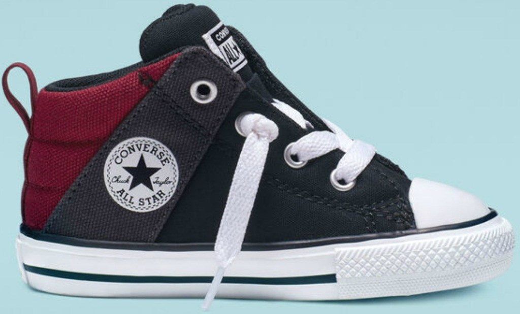 Black and maroon kids Converse shoe