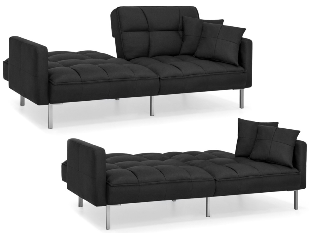 Convertible Linen Tufted Futon with Split-Back Design & Two Pillows