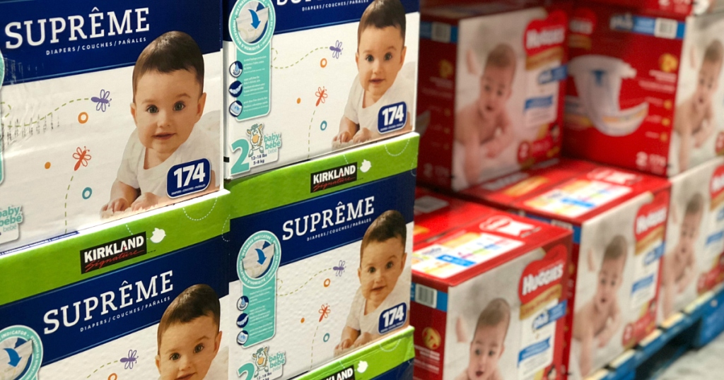 Costco diapers next to Huggies