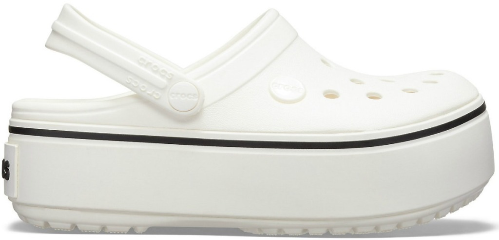 Crocs brand platform clog for girls in white
