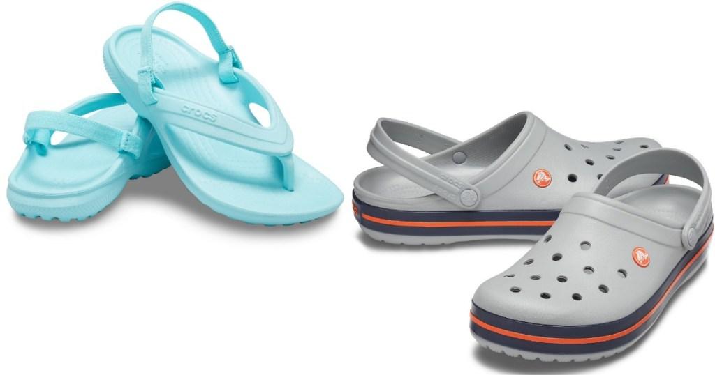 blue Crocs sandals and gray Crocs clogs