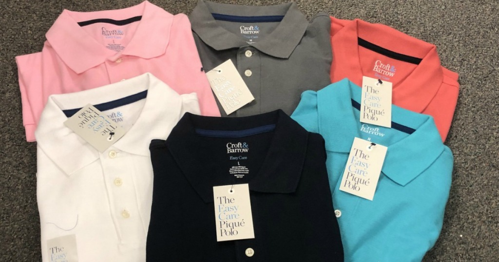 six Croft & Barrow Men's Polo Shirts lined up together