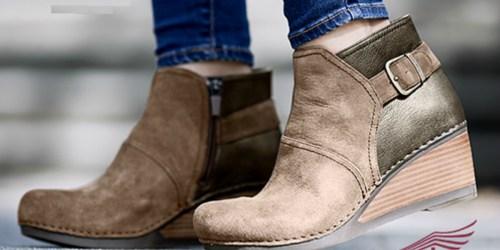 Dansko Women's Suede Wedge Booties Just $89.99 | Stain Resistant w/ Memory Foam Footbed