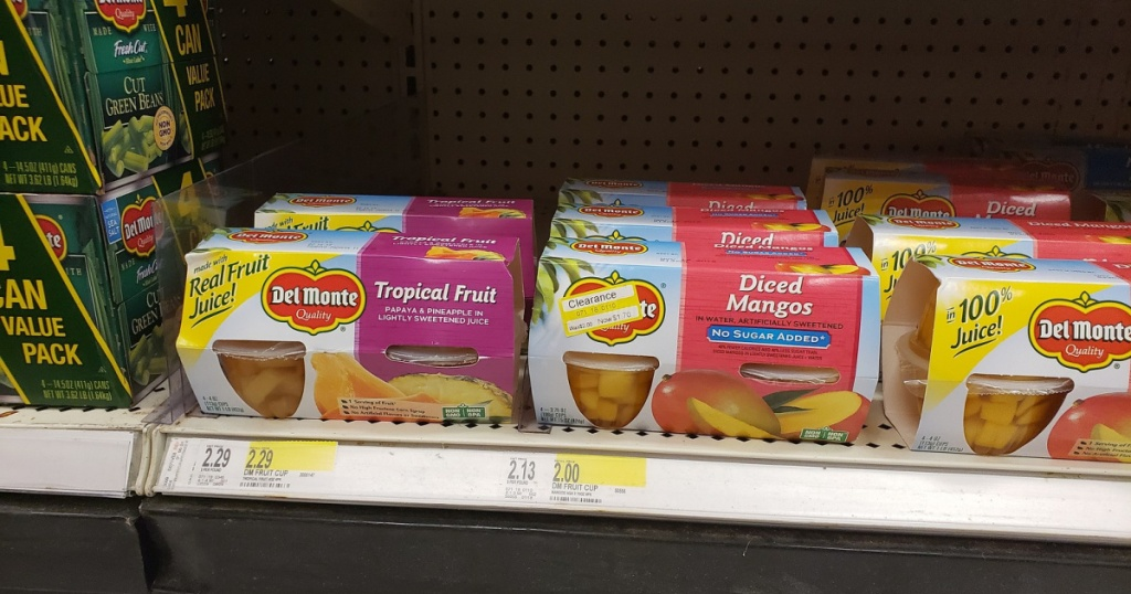 boxes of del monte fruit cups on shelf at target