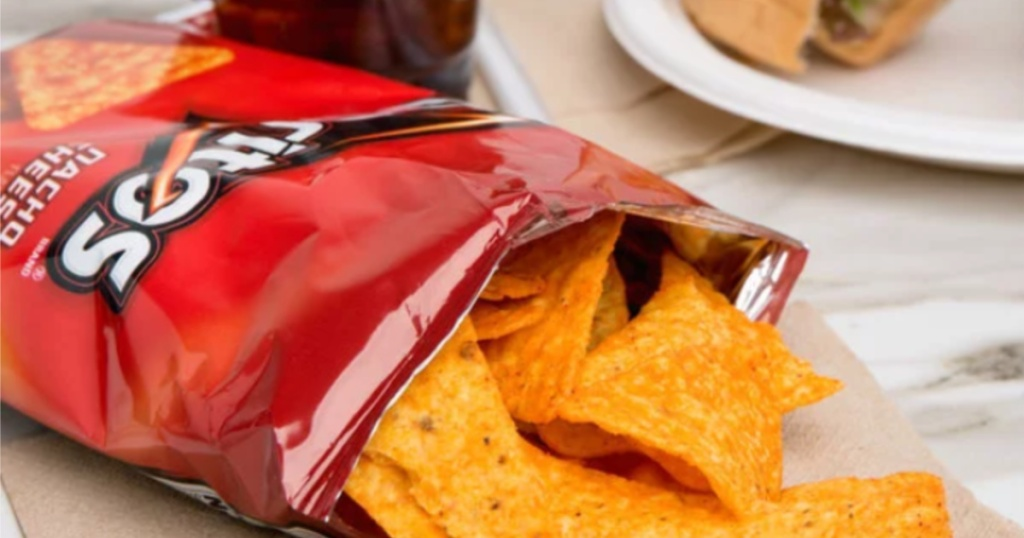 Doritos nacho cheese chips coming out from their bag
