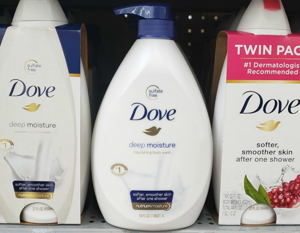 Dove brand body wash on store shelf