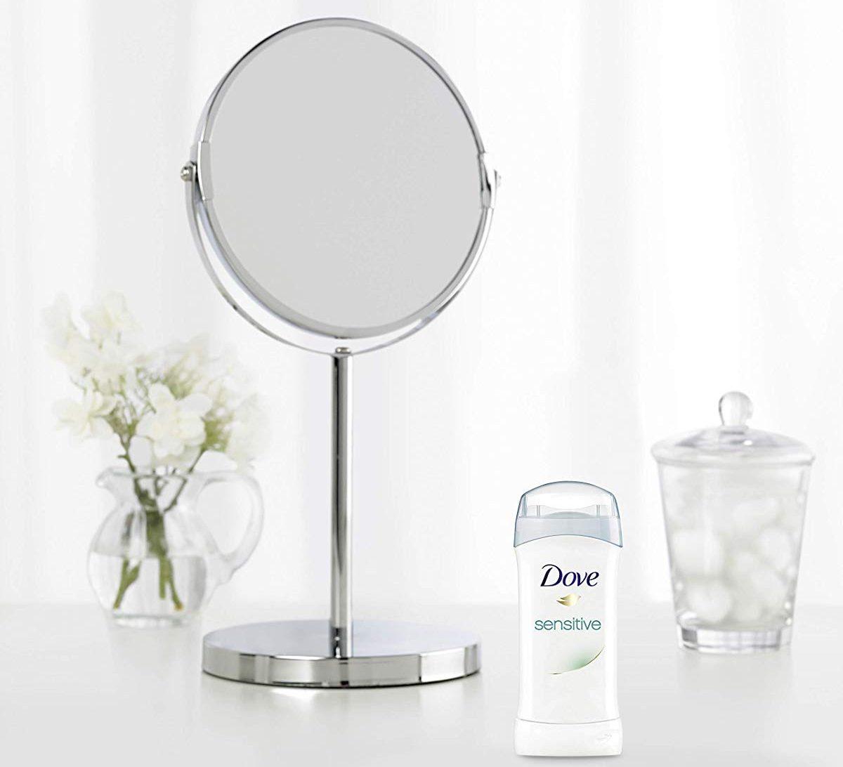 Dove deodorant by mirror