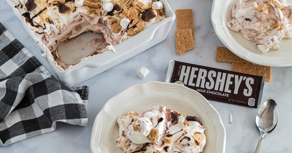 Casserole dish and bowl filled with No-Bake S'mores Lasagna