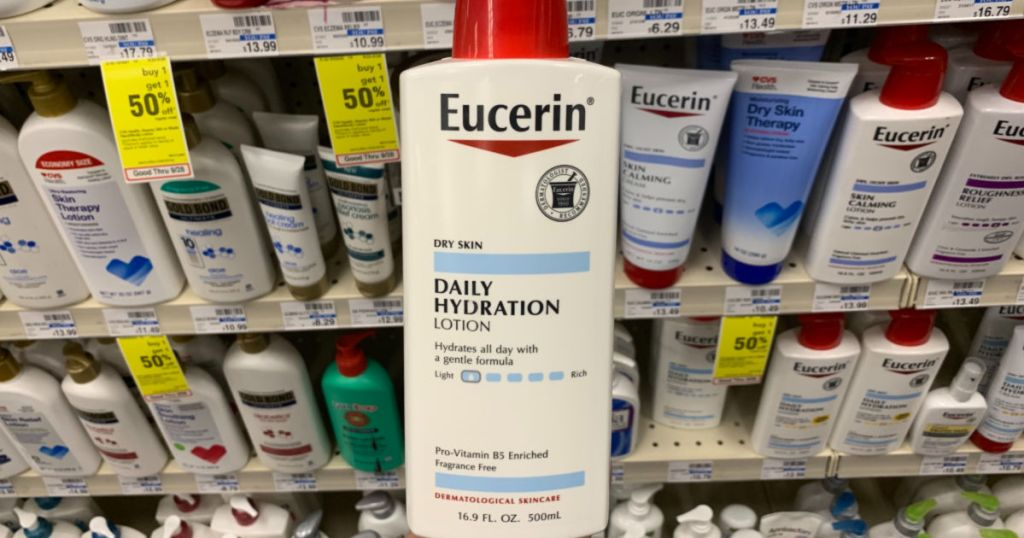 Eucerin lotion in front of store shelf