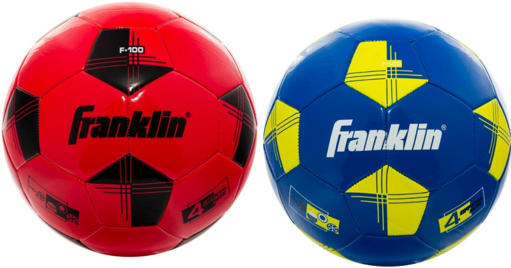 red and blue Franklin youth soccer balls