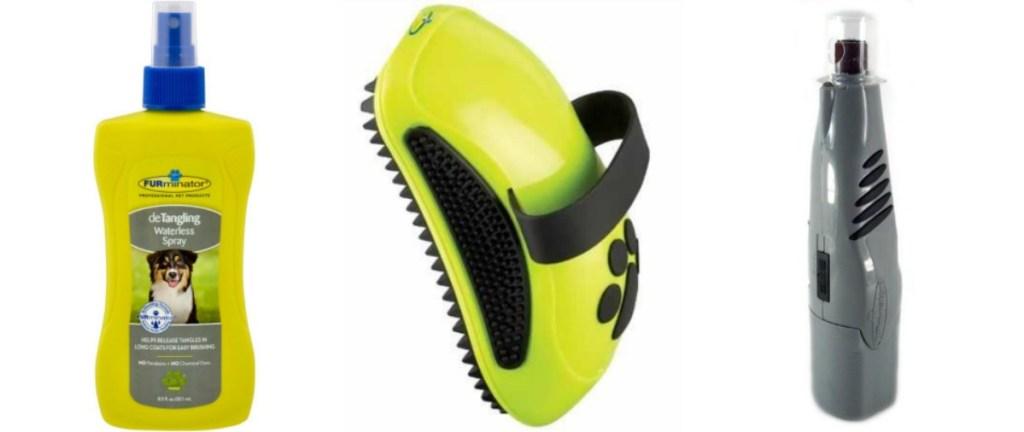 FURminator pet hair detangler spray, grooming brush and nail trimmer