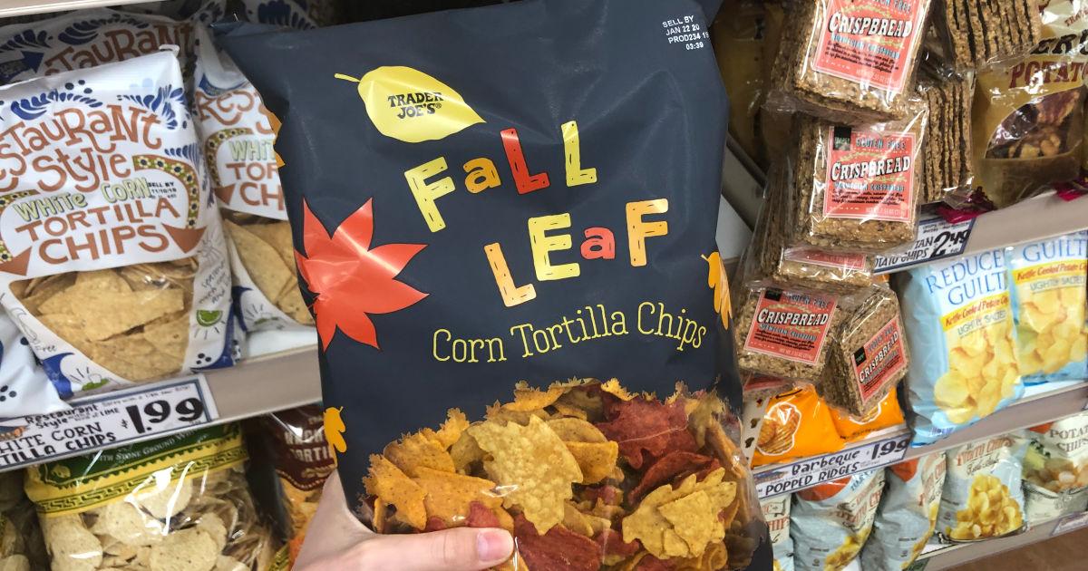 best Trader Joe's Thanksgiving foods - Fall Leaf Corn Tortilla Chips