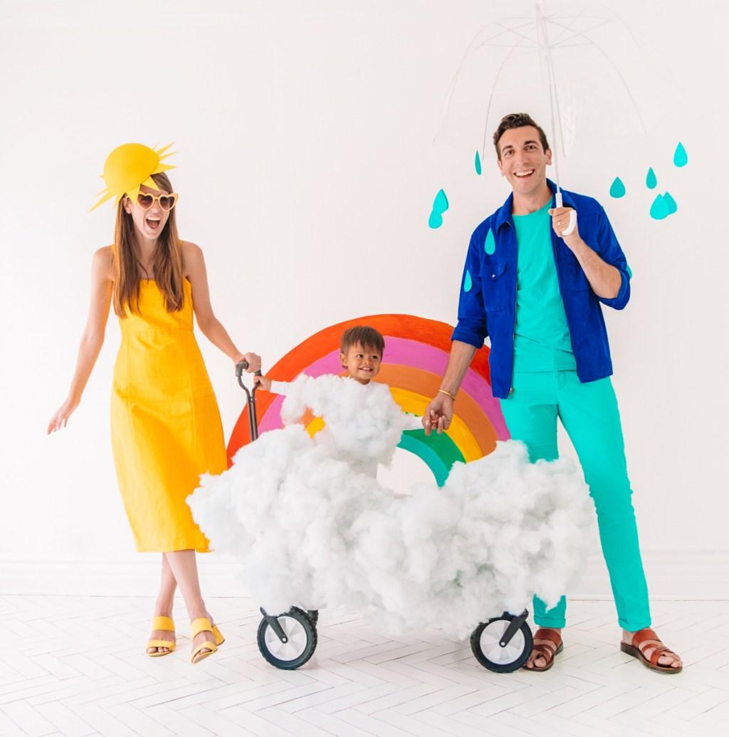 family halloween costumes sun rainbow rain