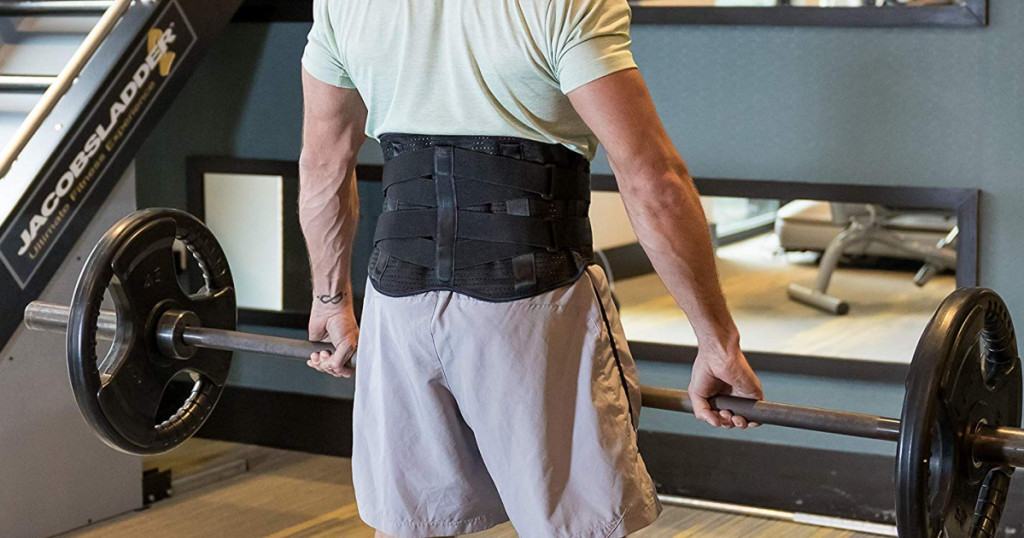 FlexGuard Support Lower Back Brace on while lifting weights