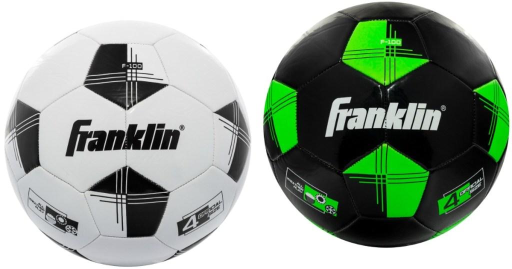 white and black Franklin kids soccer balls