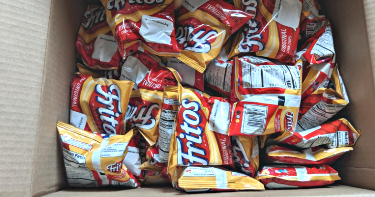 box of 40 bags of fritos chips