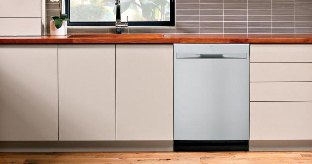 ge built-in stainless steel dishwasher in kitchen