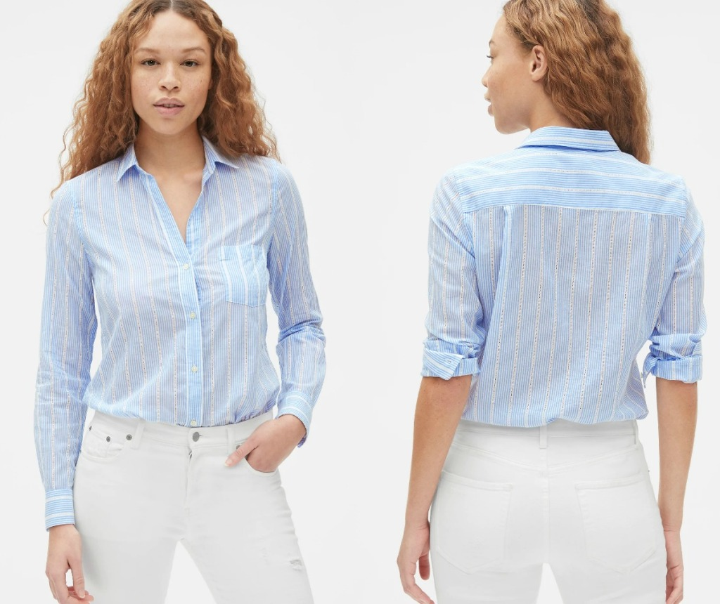 Women's Fitted Boyfriend Shirt in lightblue