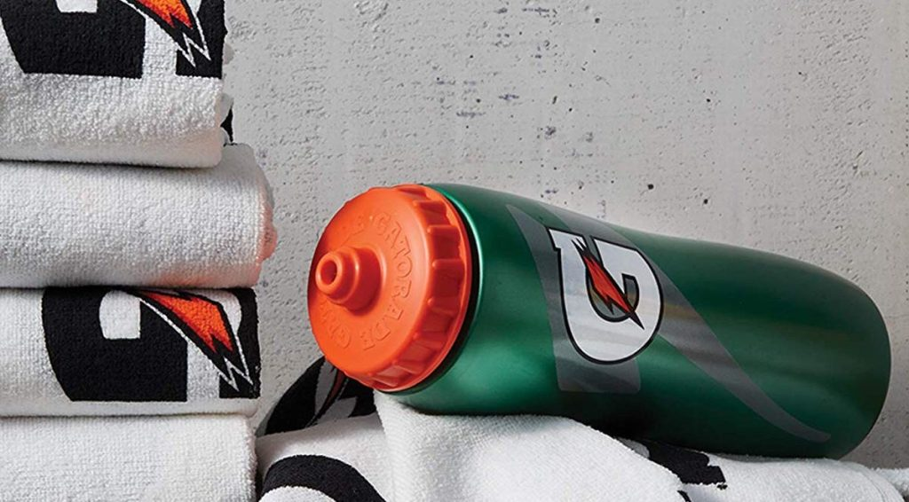Gatorade Squeeze Bottle on towels