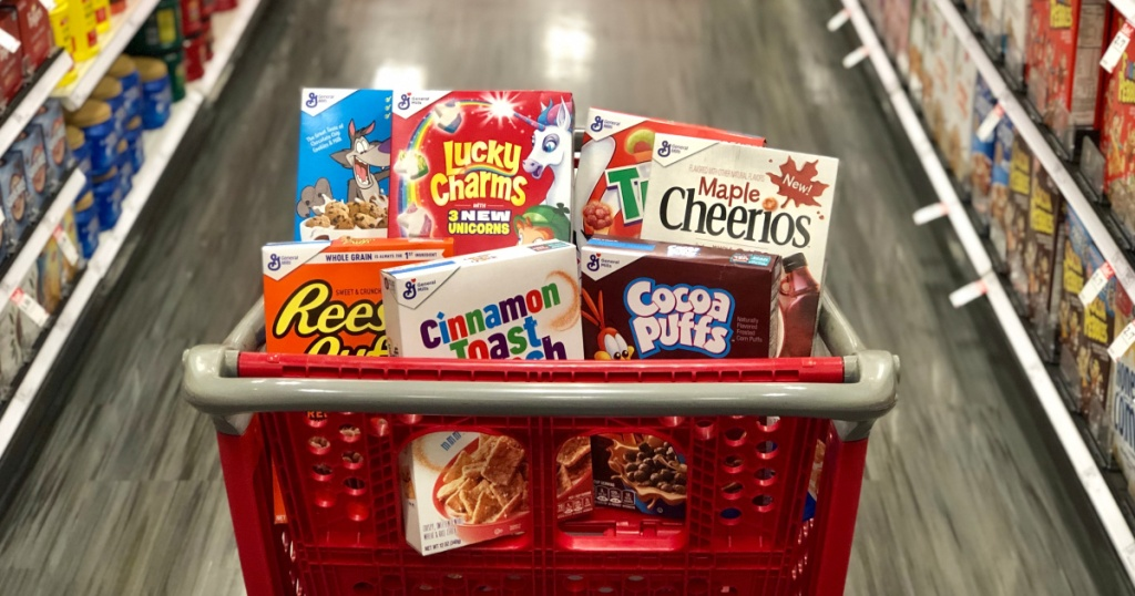 boxes of cereal in cart at target