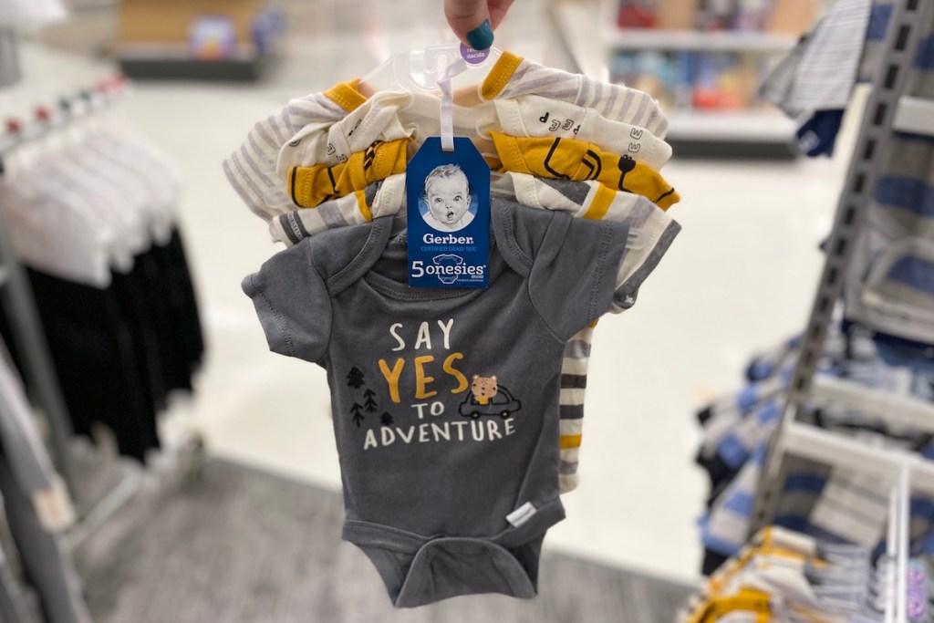 Gerber Baby Onesies on hanger at Target
