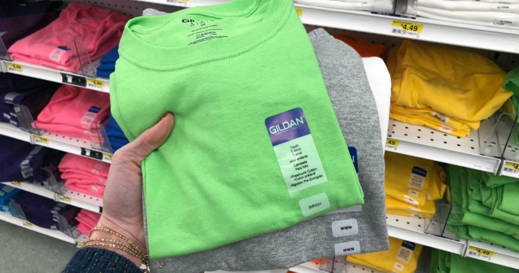 Three colors of Gildan brand craft shirts in-hand at Joann's
